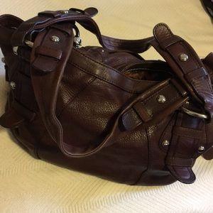 b. makowsky Chocolate Brown Leather Handbag